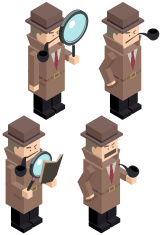 Cubic Detective Inspector With Magnifier And Pipe vector art illustration