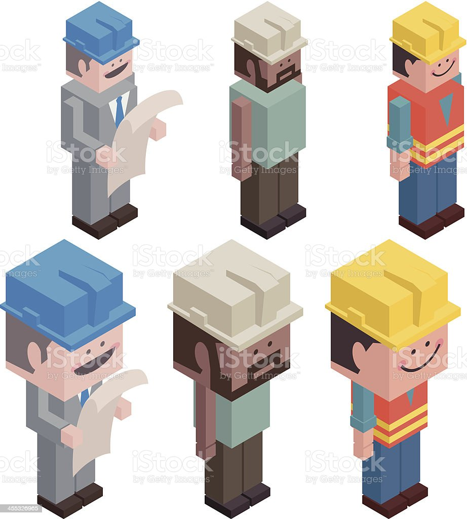 Cubic Foreman and Worker royalty-free stock vector art