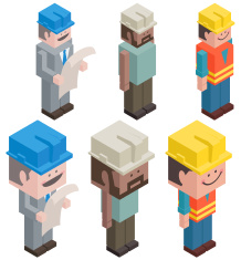 Cubic Foreman and Worker vector art illustration