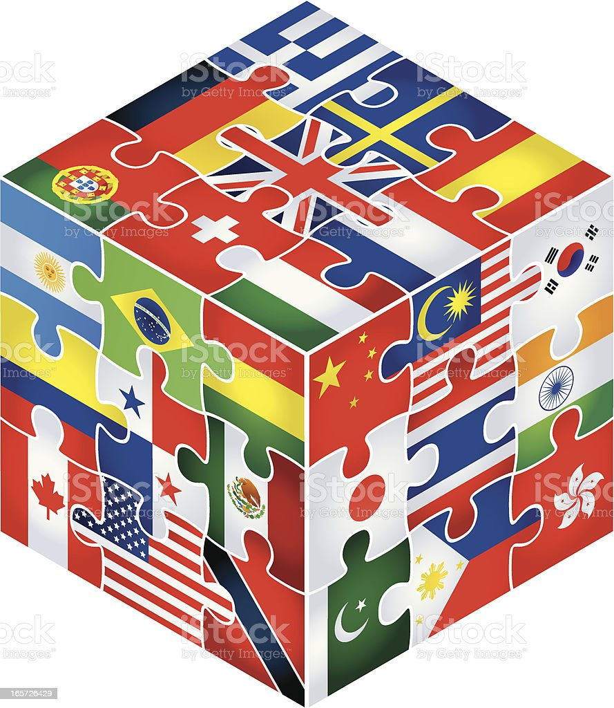 cubic jigsaw with flags royalty-free stock vector art