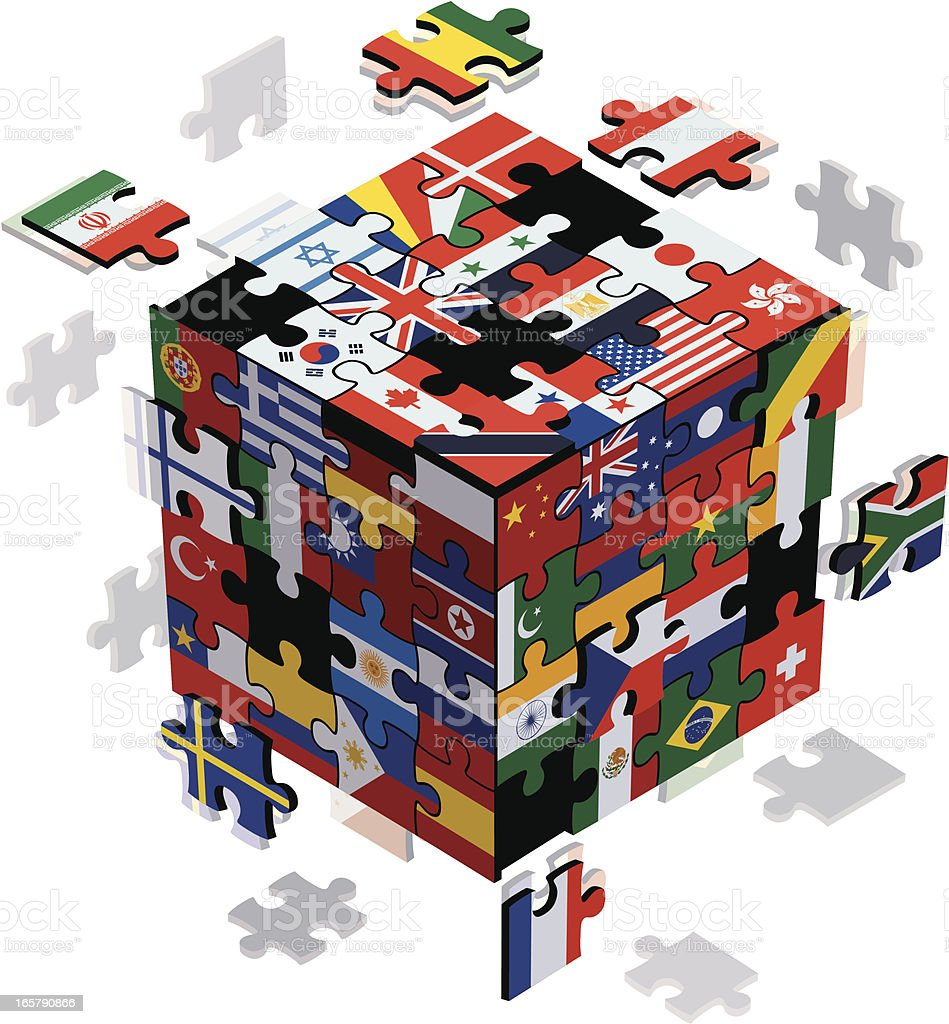cubic jigsaws with flags royalty-free stock vector art