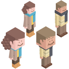 Cubic Mature Couple Characters vector art illustration