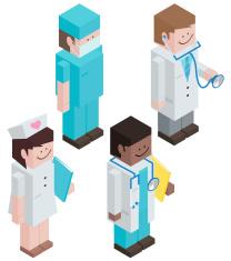 Cubic Medical Staff vector art illustration