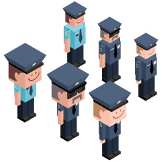 Cubic Policeman vector art illustration