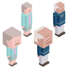 Cubic Senior Couple Characters vector art illustration