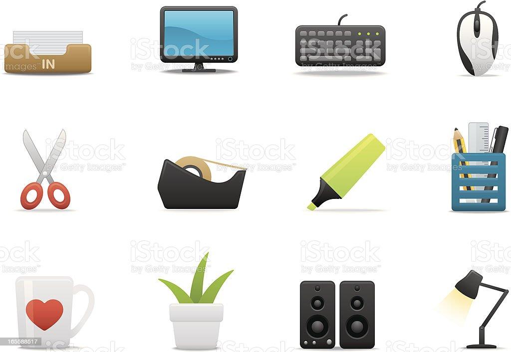 Cubicle & Desktop icons | Premium Matte series royalty-free stock vector art