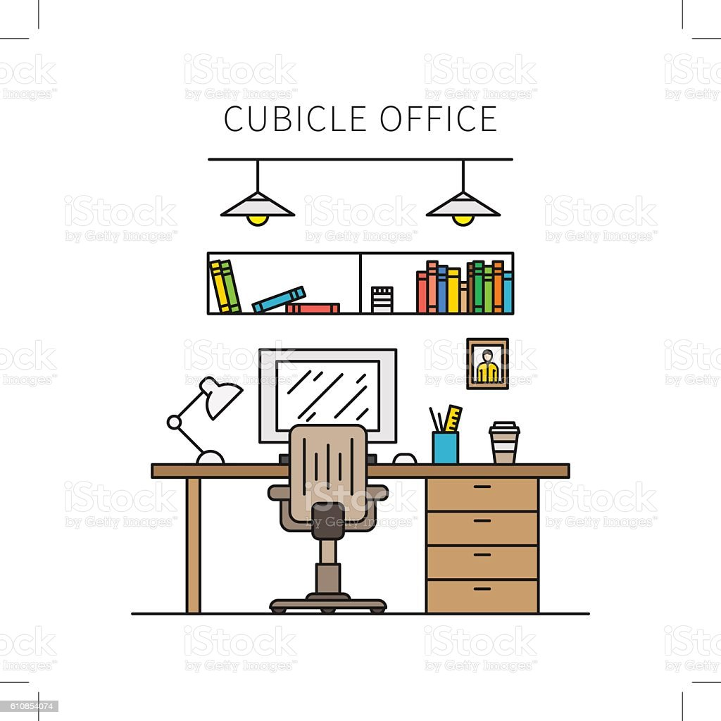 Cubicle office with furniture and equipment vector illustration vector art illustration