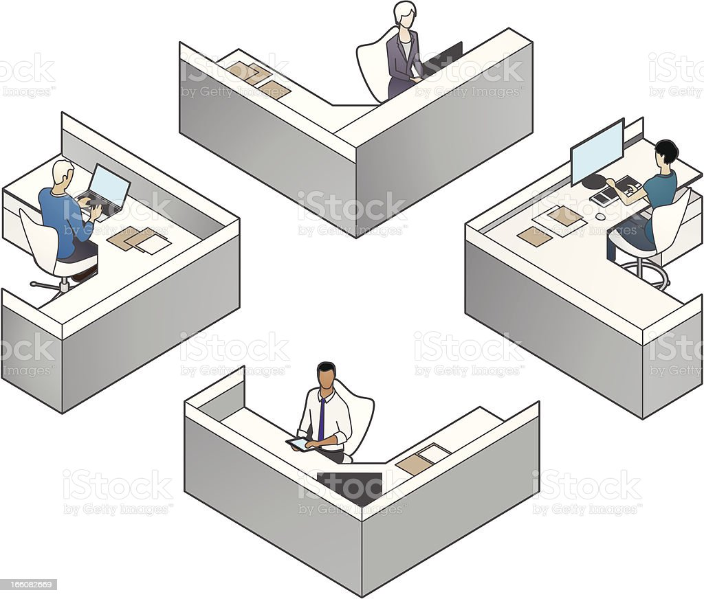 Cubicles Illustration royalty-free stock vector art