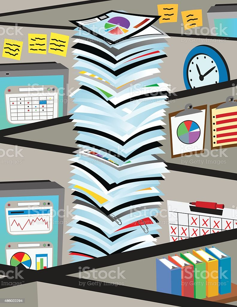 Cubicles with a stack of papers vector art illustration