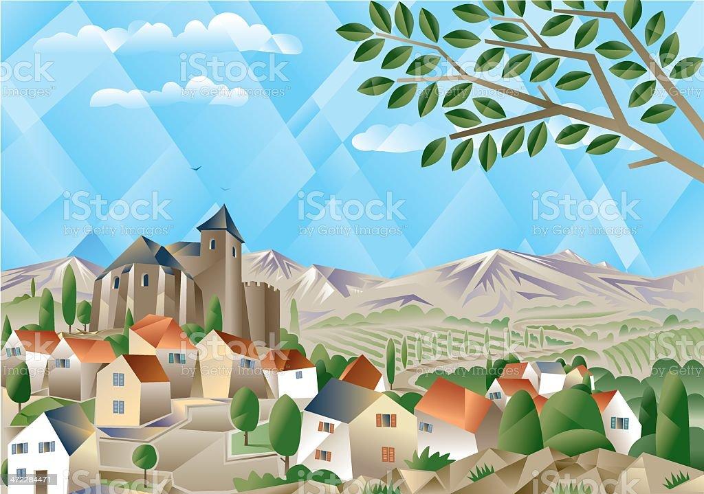 Cubist countryside vector art illustration
