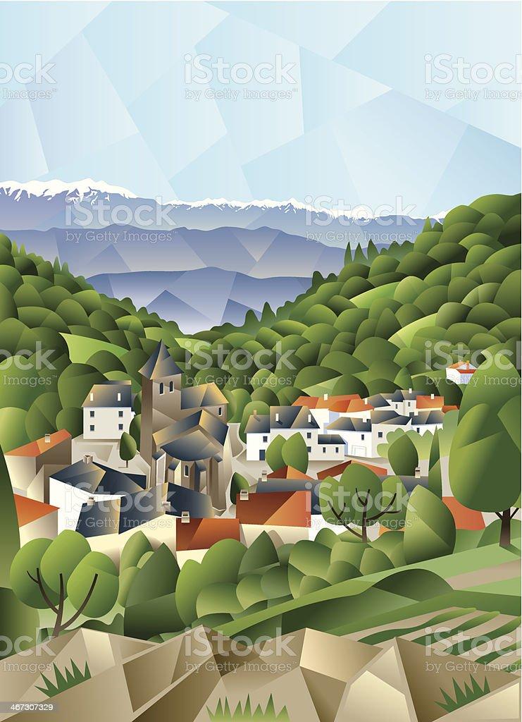 Cubist French village vector art illustration