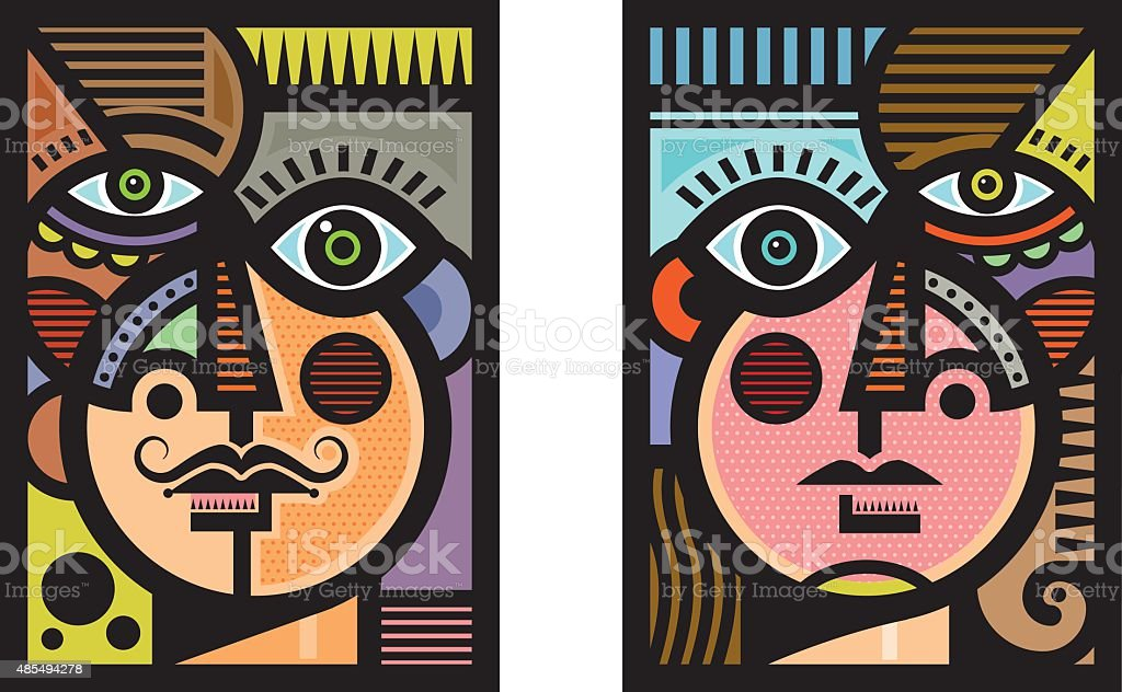 Cubist heads illustration vector art illustration