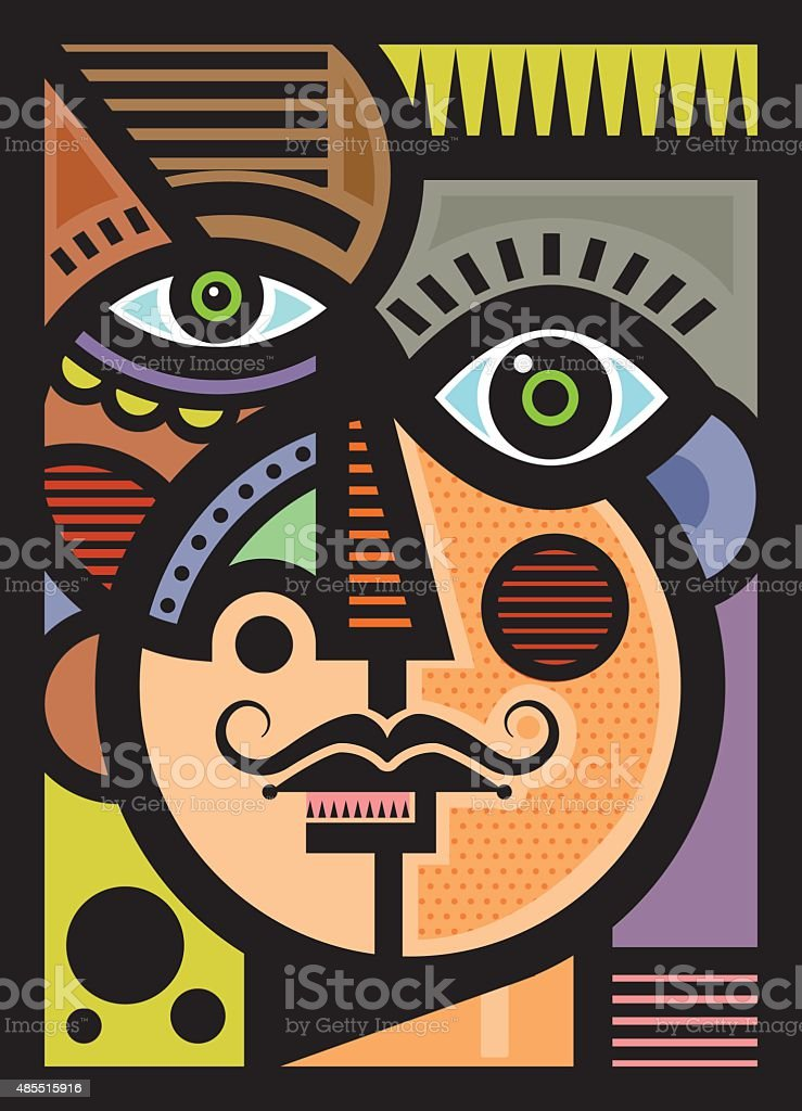 Cubist male head illustration vector art illustration
