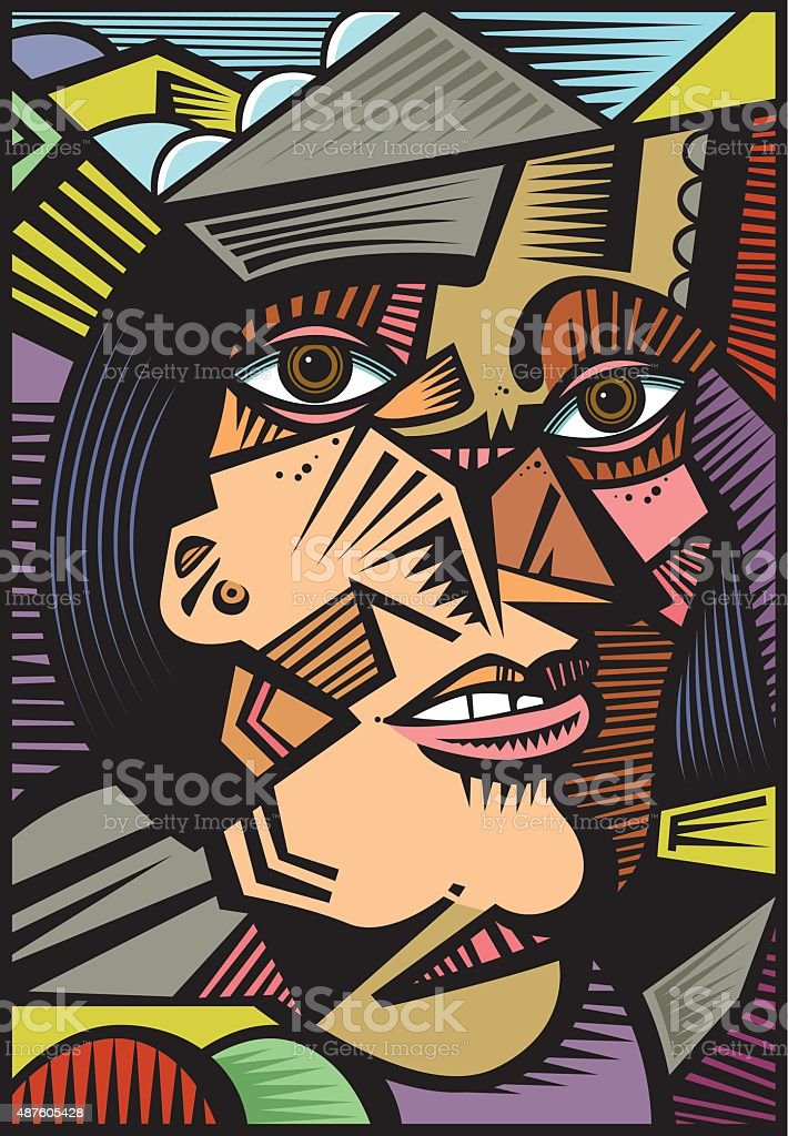 Cubist portrait illustration vector art illustration
