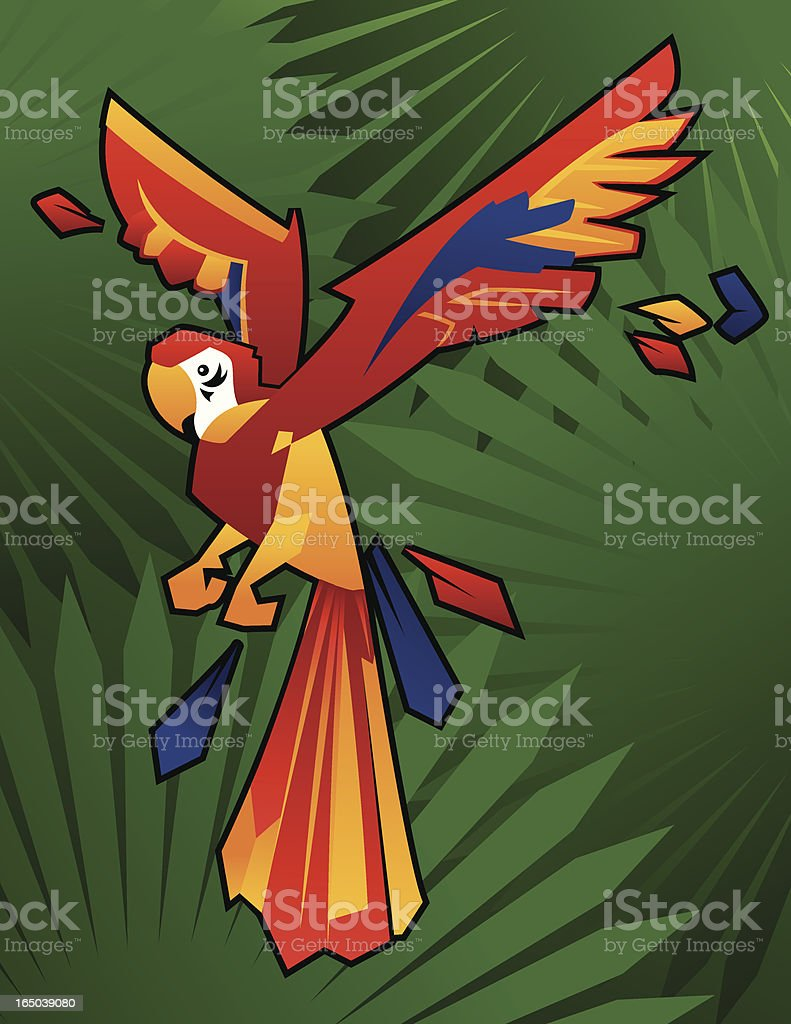 Cubist Red Macaw vector art illustration