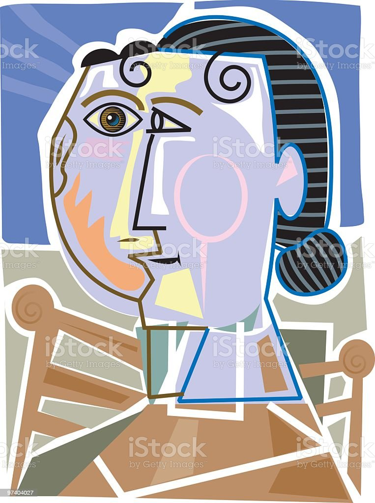 Cubist woman vector art illustration