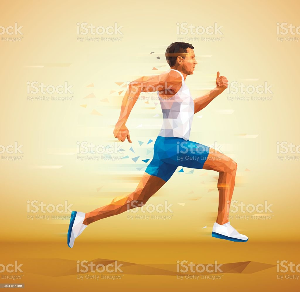 Cubistic, polygonal illustration of runner vector art illustration