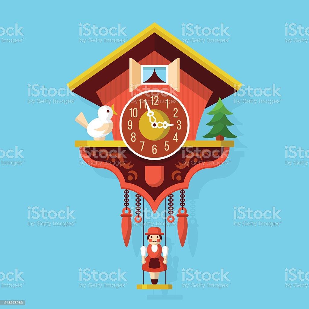Cuckoo clock flat style vector illustration vector art illustration