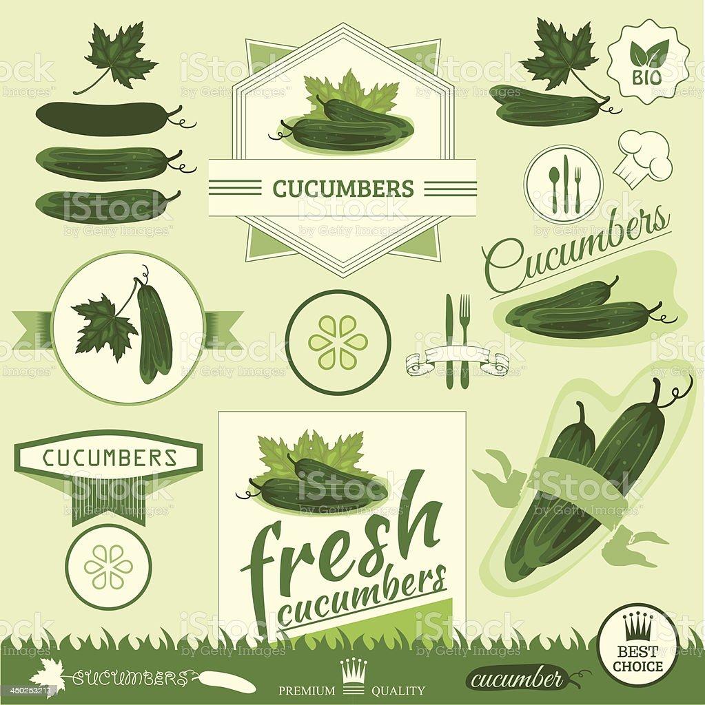 cucumber, vegetables, food product label,background packaging design vector art illustration