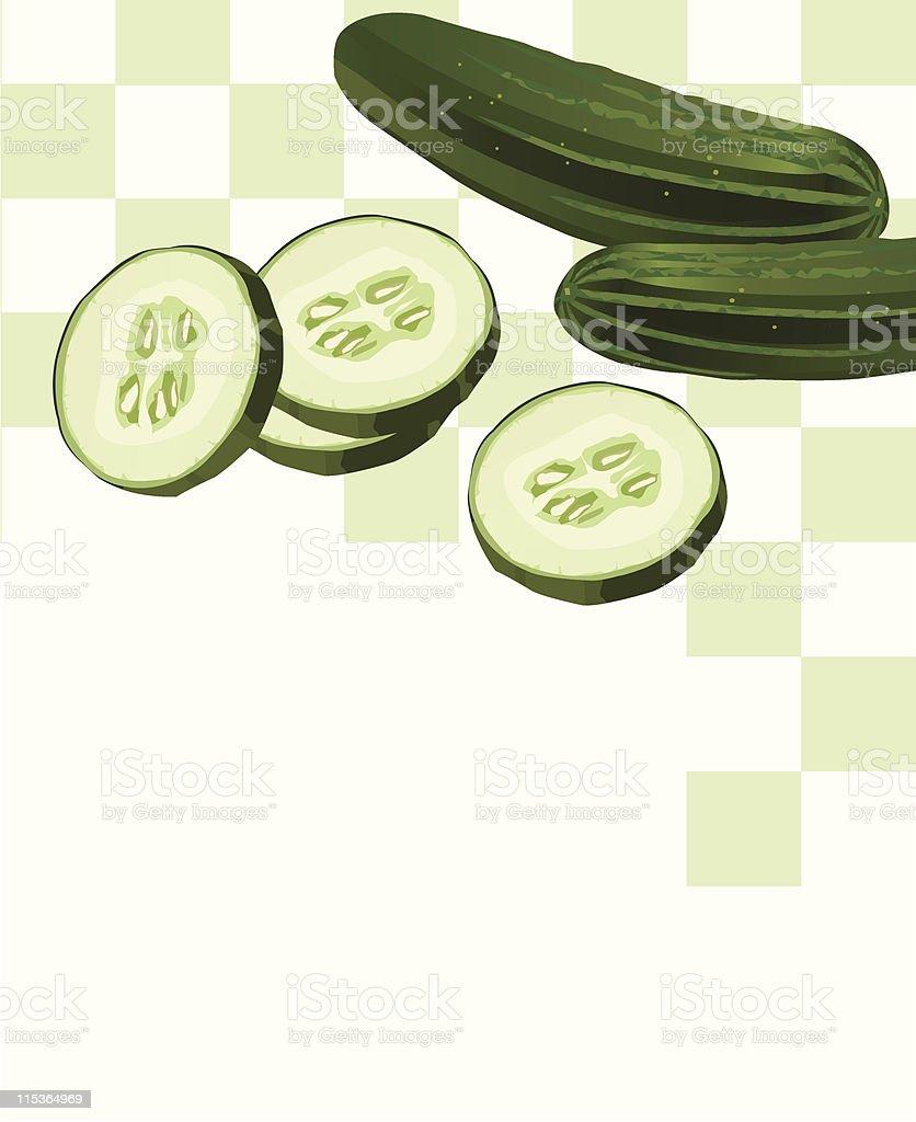 Cucumber with Slice vector art illustration