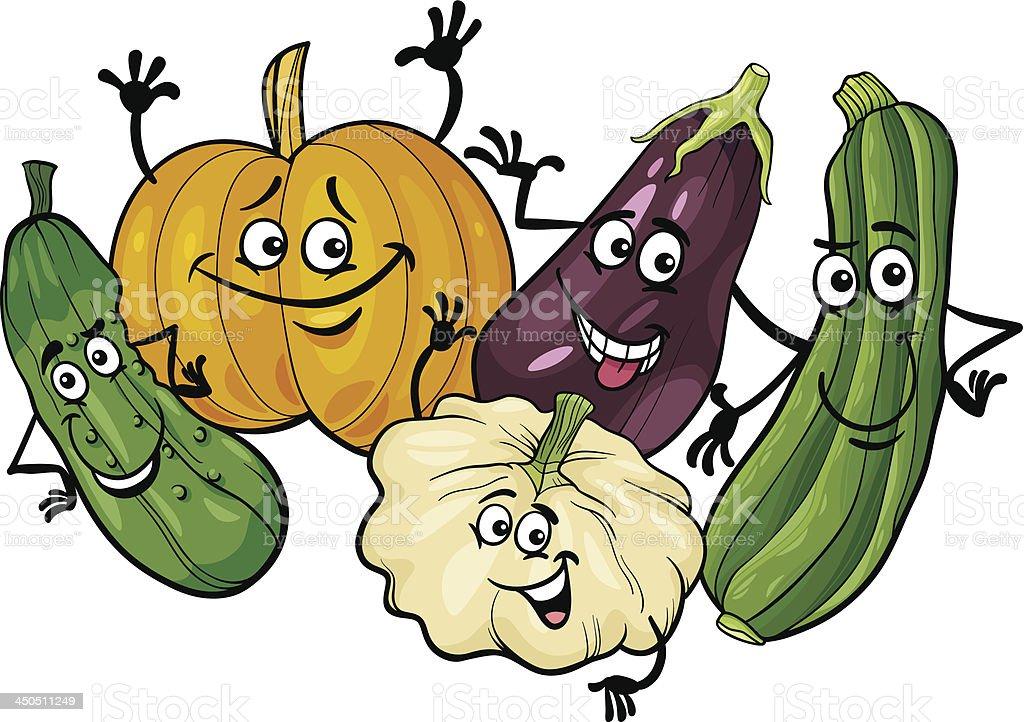 cucurbit vegetables group cartoon illustration royalty-free stock vector art