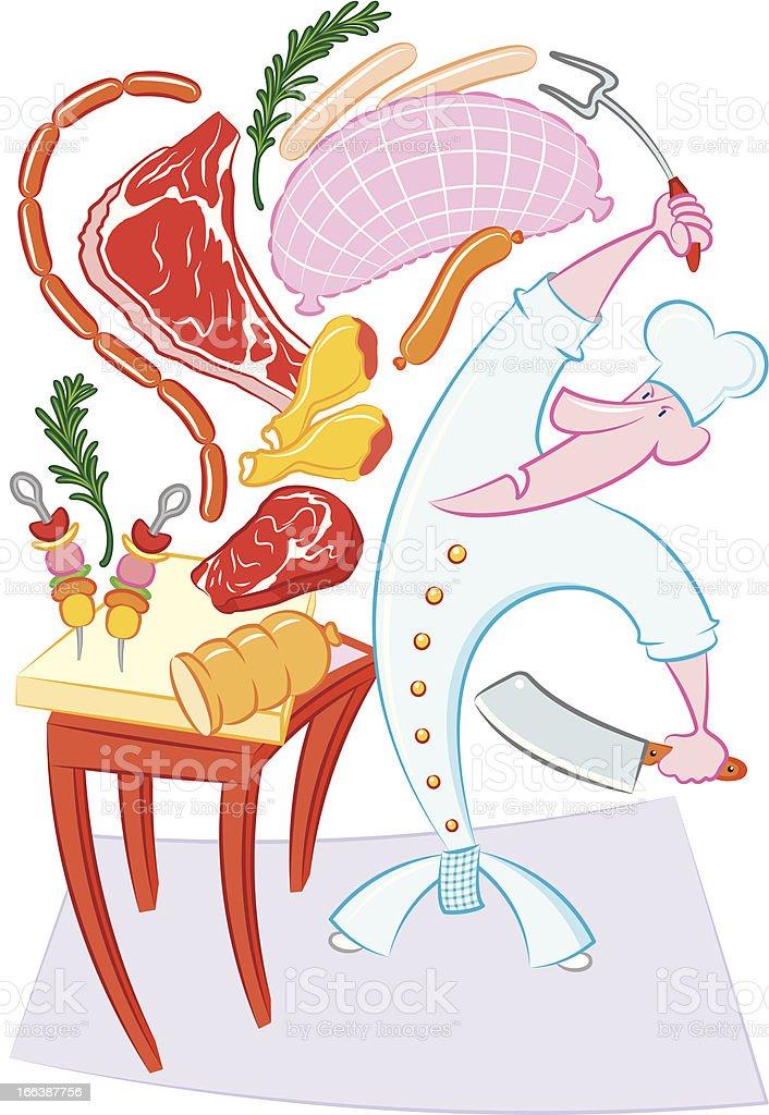 Cuoco matto con carne royalty-free stock vector art