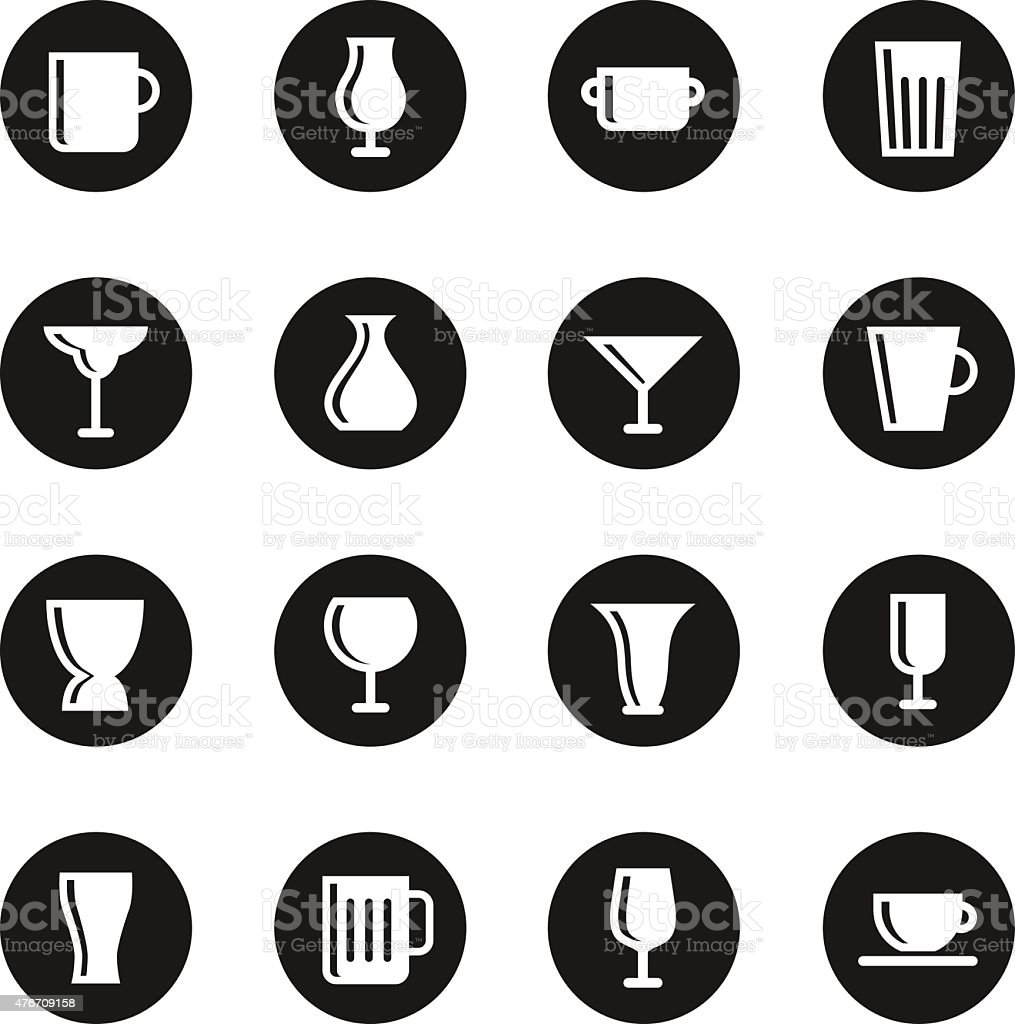 Cup and Glass Icons - Black Circle Series vector art illustration