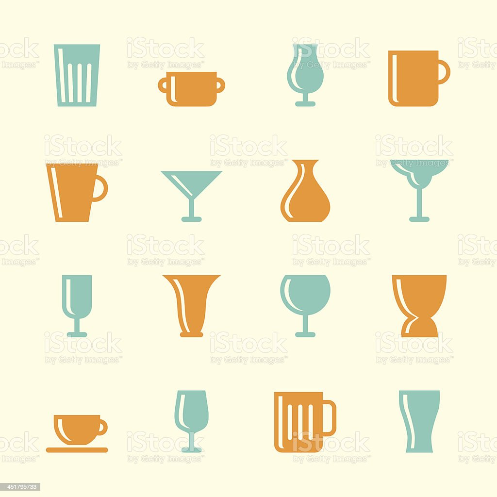 Cup and Glass Icons - Color Series vector art illustration