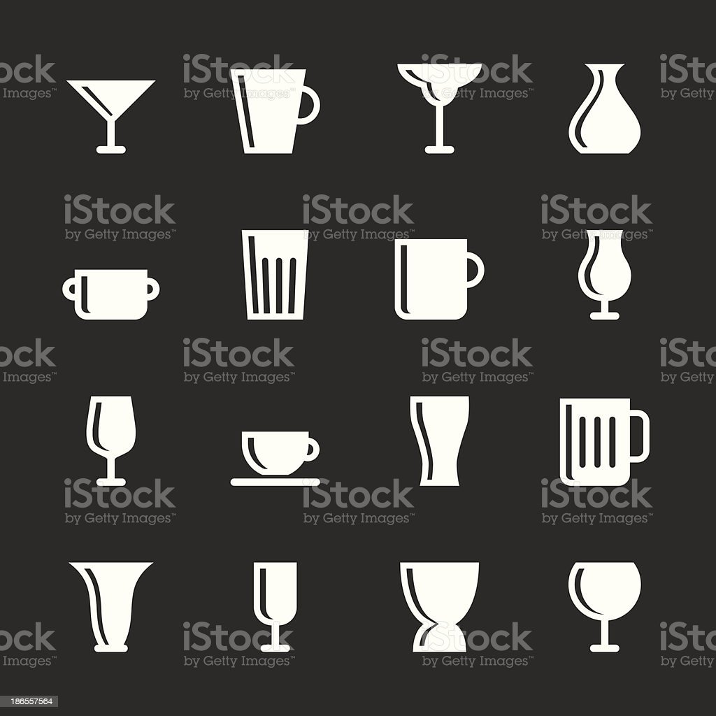 Cup and Glass Icons - White Series vector art illustration