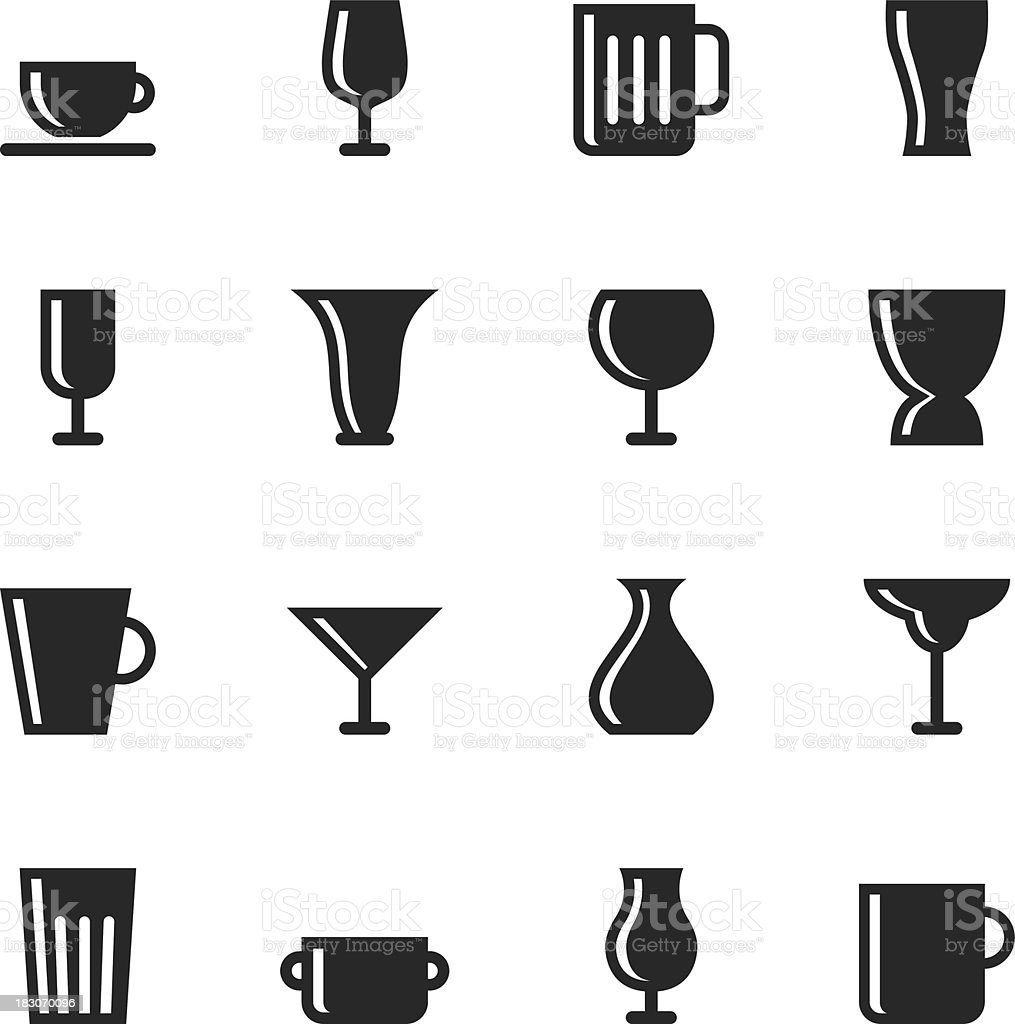 Cup and Glass Silhouette Icons vector art illustration