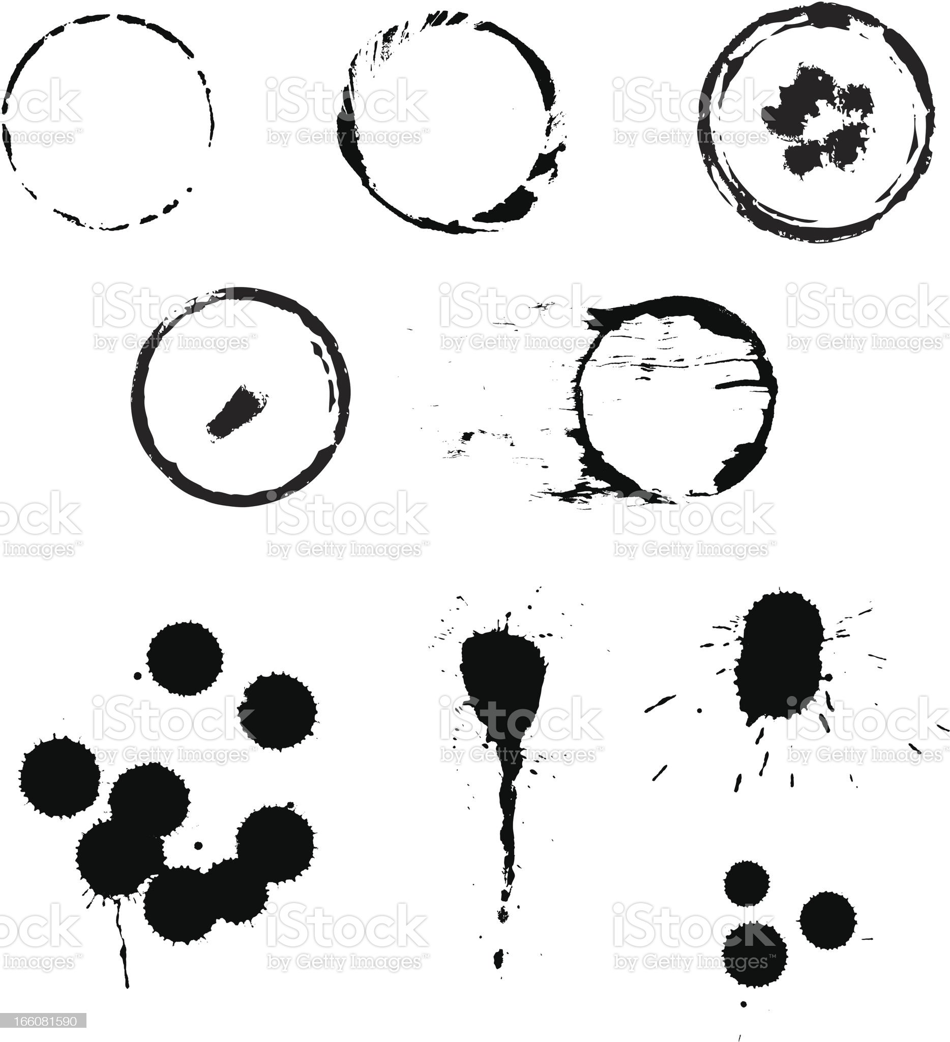 Cup and mug stains and blots royalty-free stock vector art