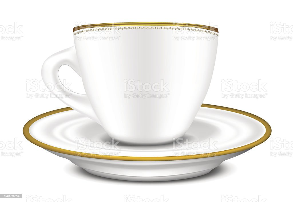 Cup and Saucer vector art illustration