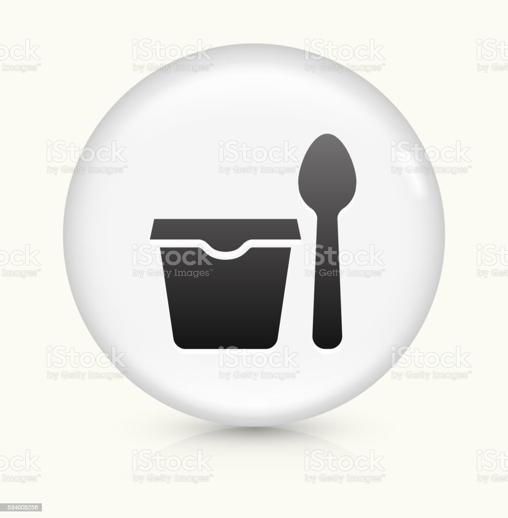 Cup and Spoon icon on white round vector button vector art illustration
