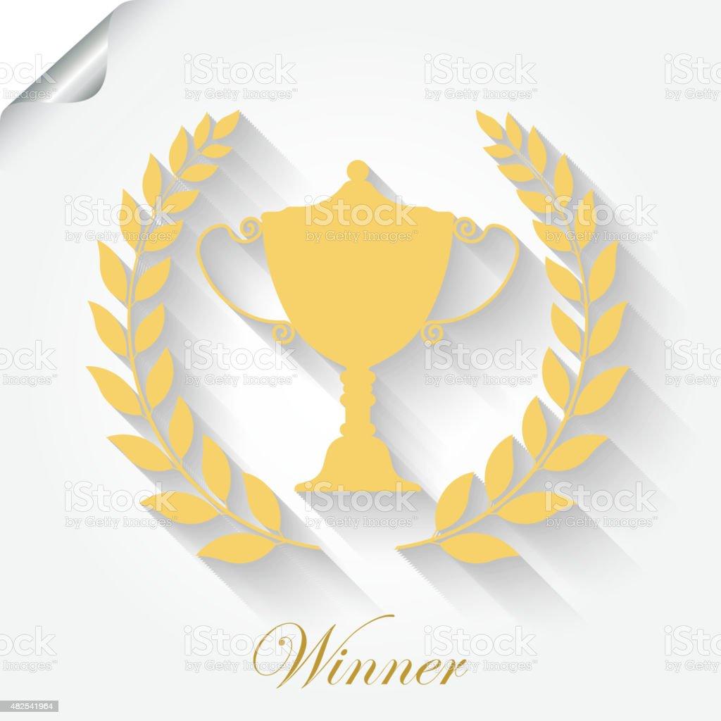 Cup Award with laurel wreath vector art illustration