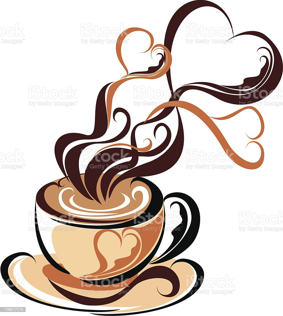 Cup coffee with fragrant steam in the form of hearts royalty-free stock vector art