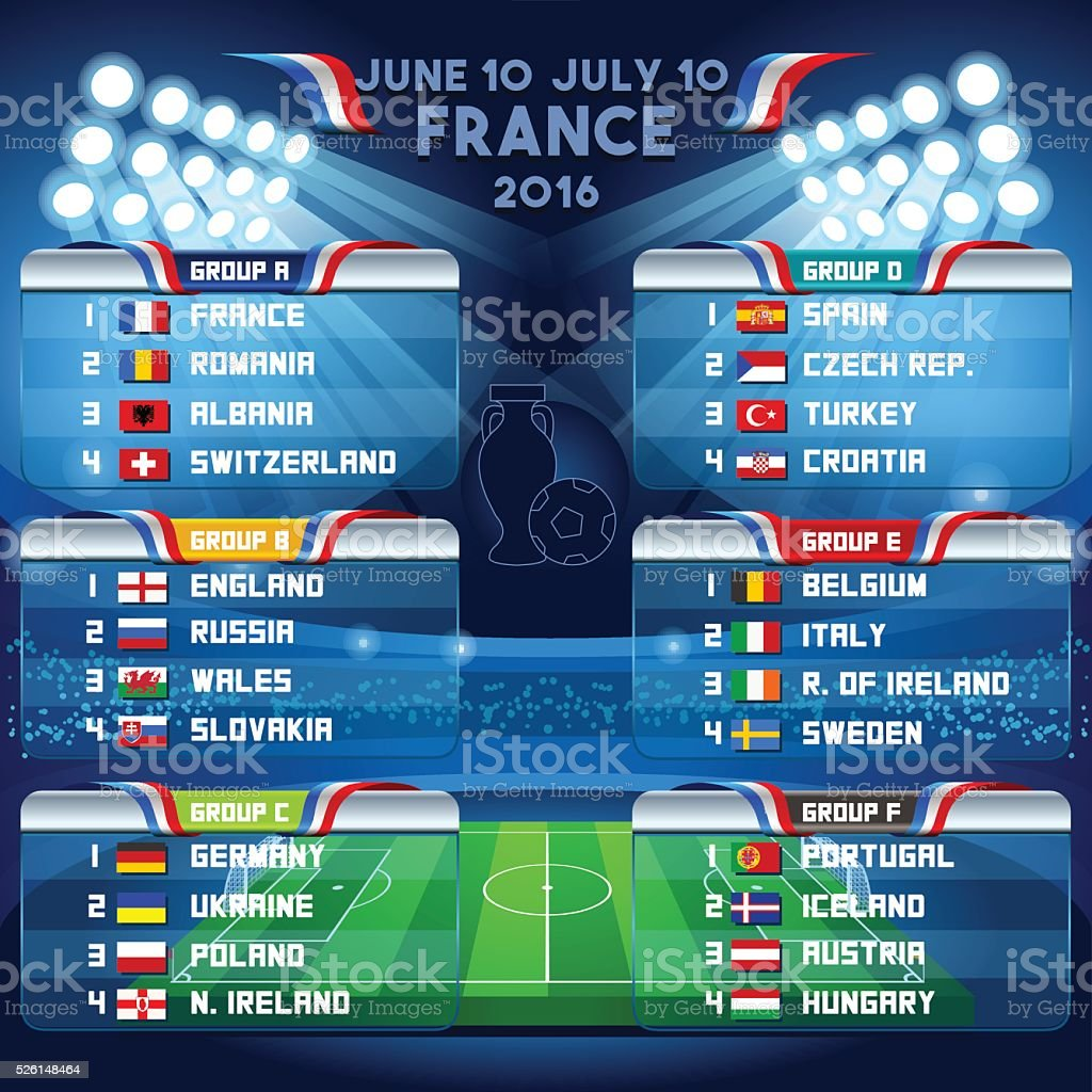 Cup EURO 2016 Final Schedule vector art illustration