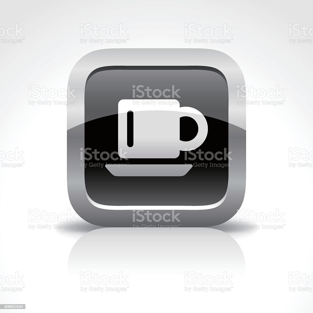 Cup Glossy Button Icon vector art illustration