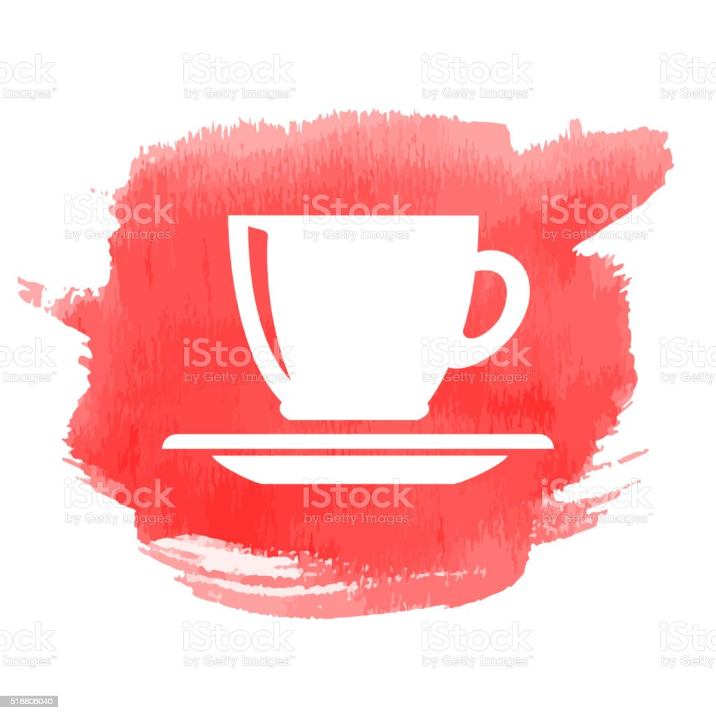 Cup icon on watercolor background vector art illustration