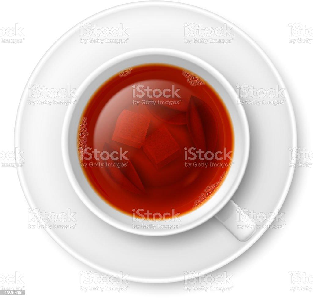 Cup of black tea vector art illustration