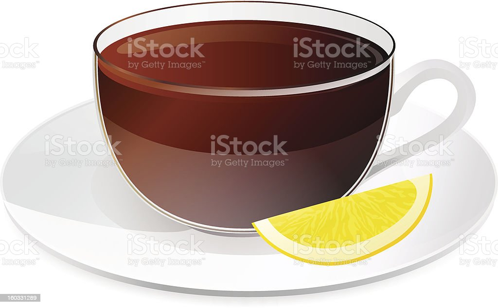 Cup of black tea with lemon. Drink on plate. Vector royalty-free stock vector art