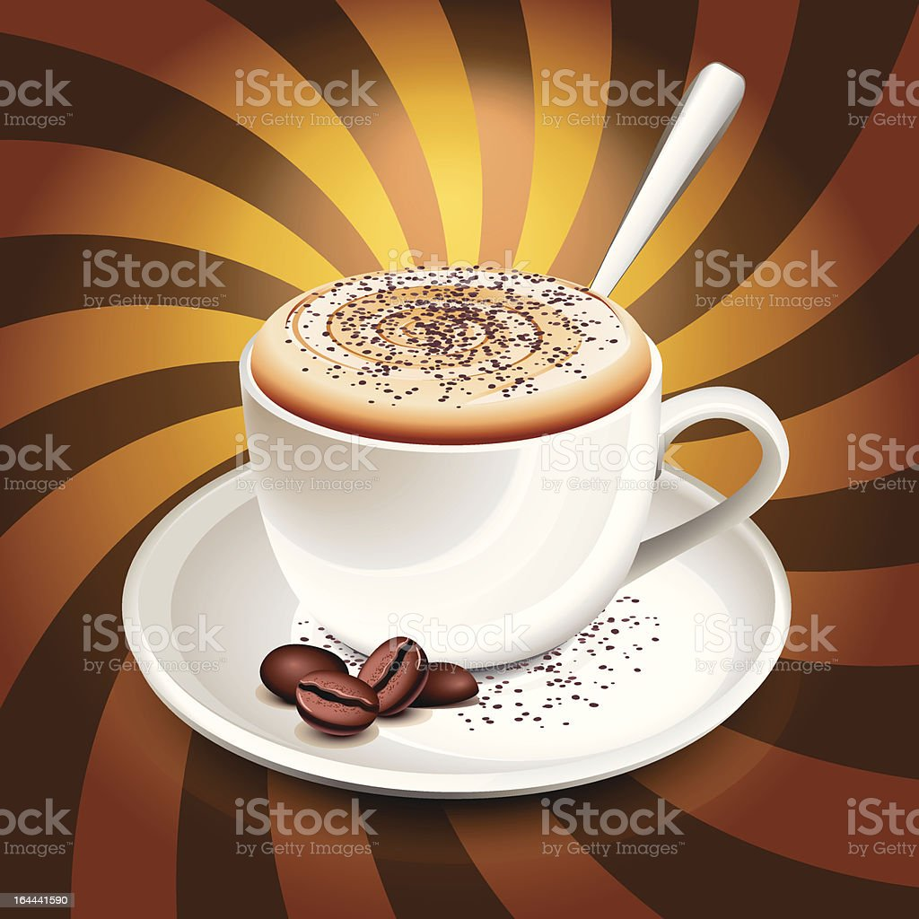 Cup of cappuccino over rays royalty-free stock vector art
