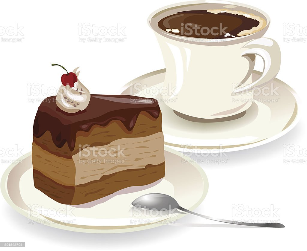 cup of coffee and a piece of cake vector art illustration