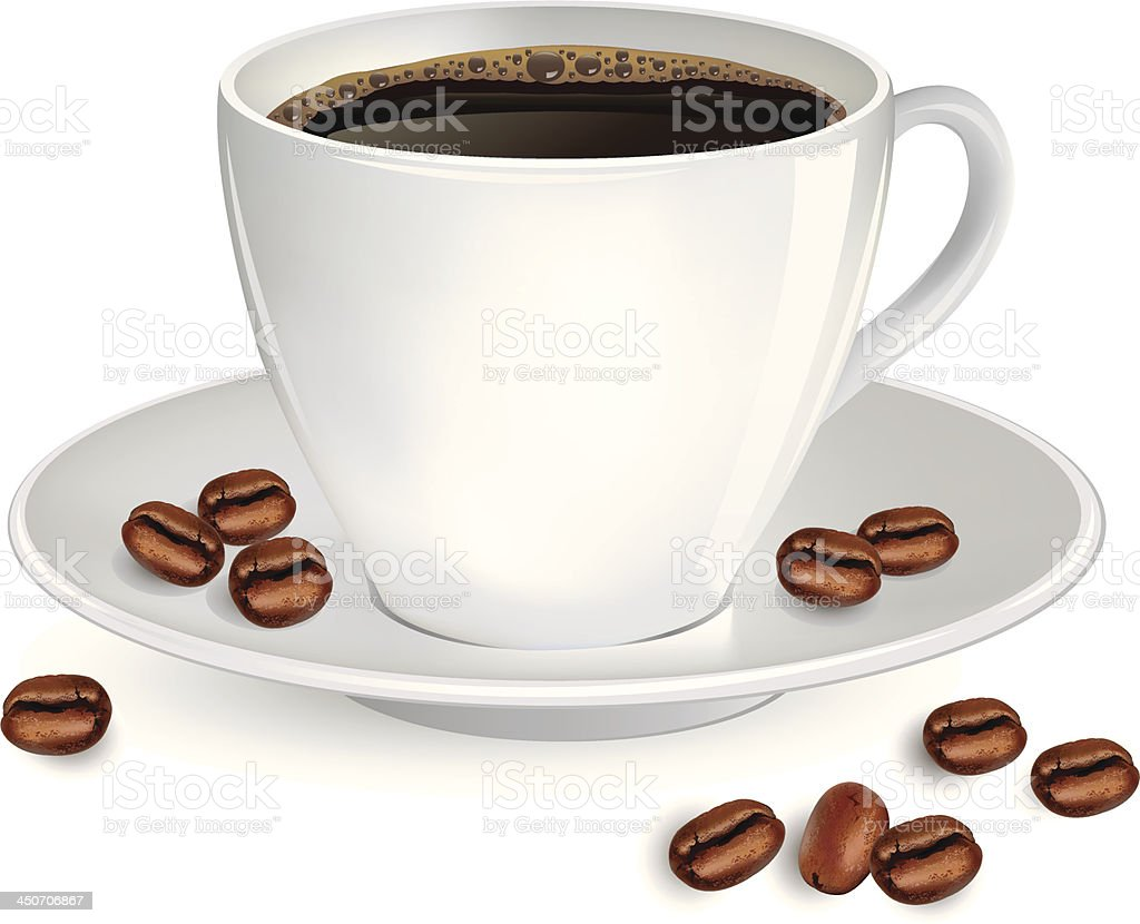 Cup of coffee and coffee-beans. vector art illustration