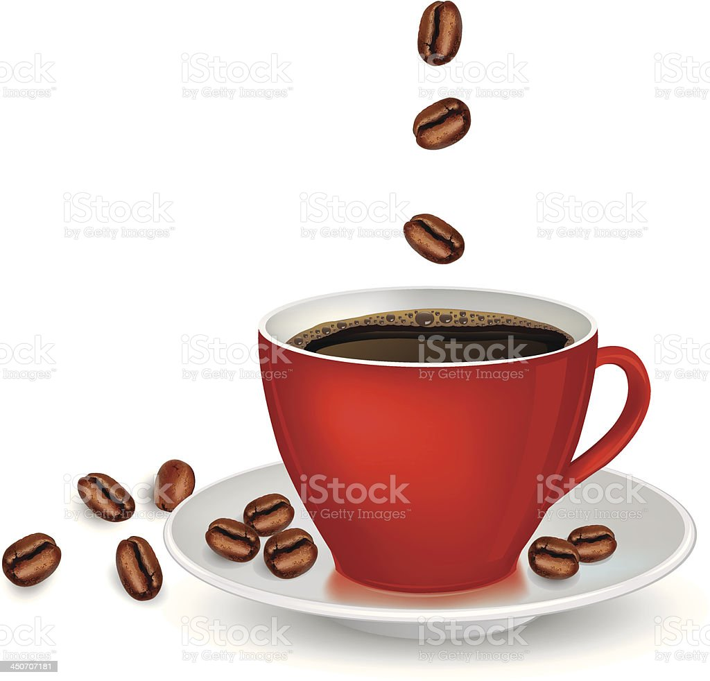 Cup of coffee and coffee-beans royalty-free stock vector art