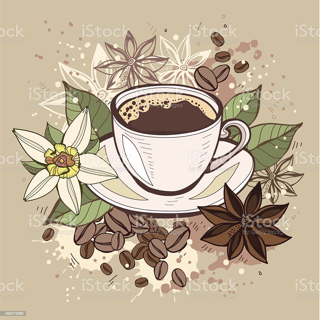 Cup of coffee and flowers vector art illustration
