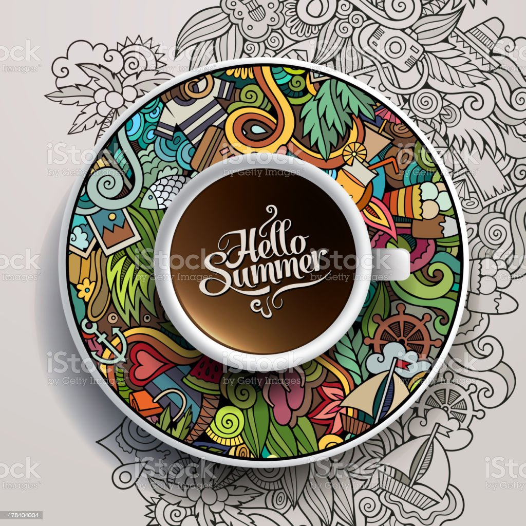 Cup of coffee and hand drawn summer doodles vector art illustration
