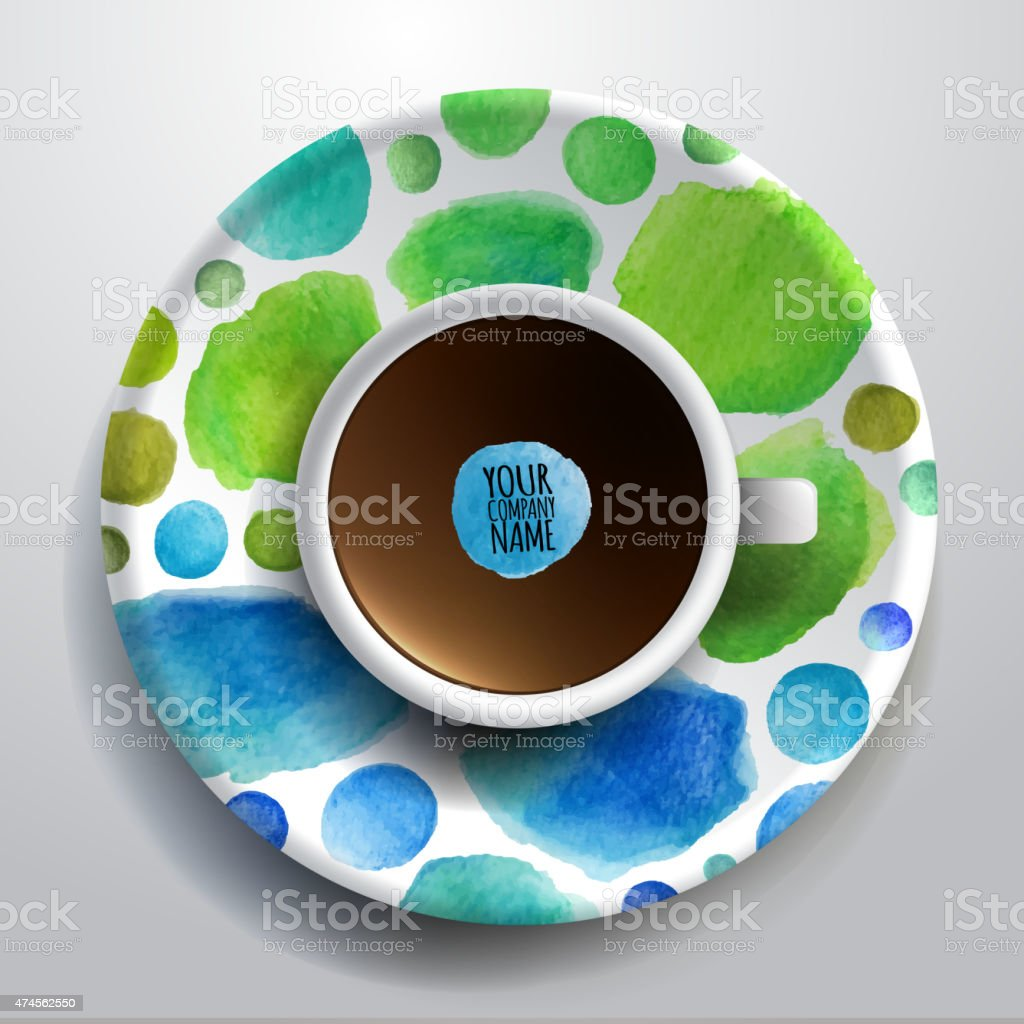 Cup of coffee and hand drawn watercolor on a saucer vector art illustration