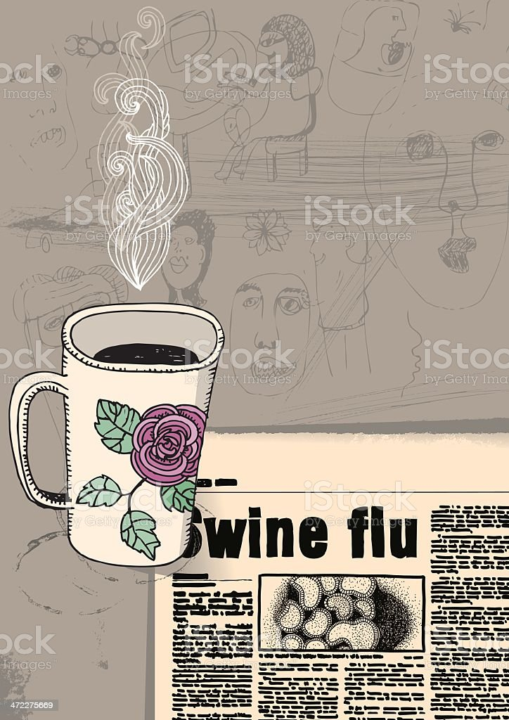 Cup of coffee and newspaper vector art illustration