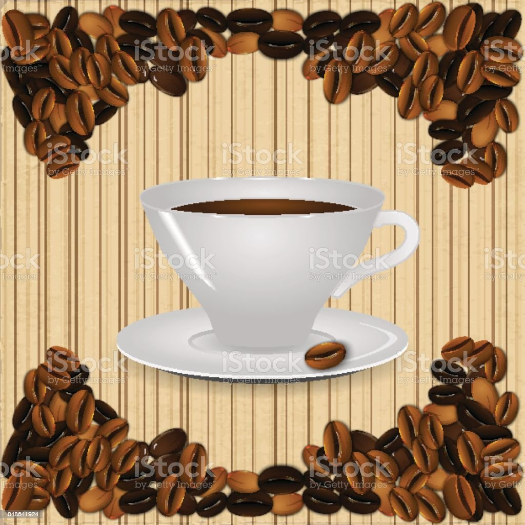 A cup of coffee on a beige background vintage striped with realistic coffee beans. vector art illustration