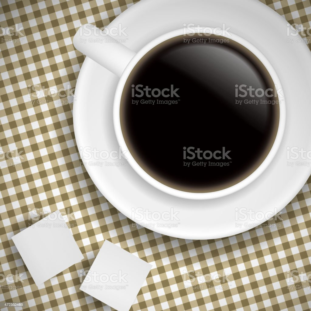 Cup of coffee on Brown tablecloth royalty-free stock vector art
